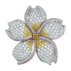 Oscar Heyman 10.28tcw Fancy Color Diamond Flower Brooch