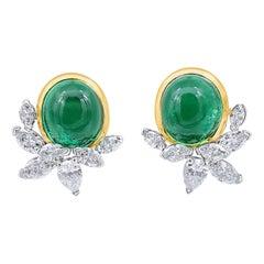 Oscar Heyman 11.97tcw Cabochon Colombian Emerald & Diamond Earrings