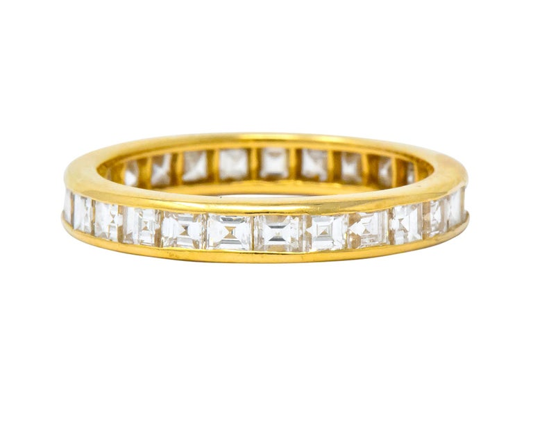 Contemporary Oscar Heyman 1.35 Carat Square Step Diamond 18 Karat Gold Eternity Band Ring For Sale