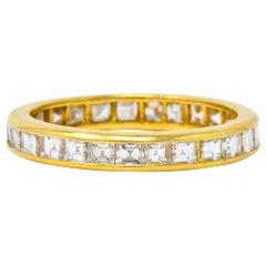 Oscar Heyman 1.35 Carat Square Step Diamond 18 Karat Gold Eternity Band Ring