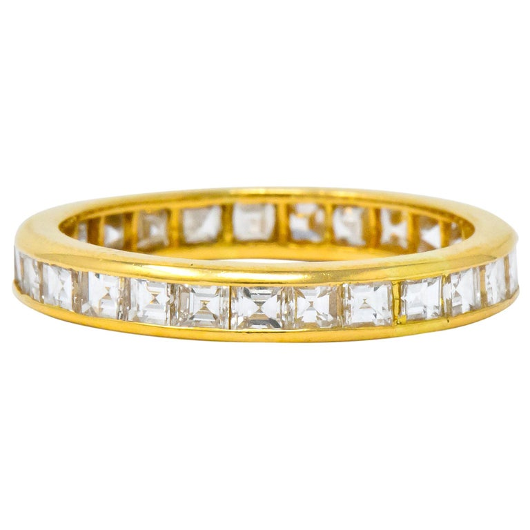 Oscar Heyman 1.35 Carat Square Step Diamond 18 Karat Gold Eternity Band Ring For Sale