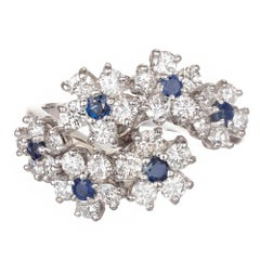Oscar Heyman 1.40 Carat Diamond Sapphire Bypass Style Platinum Cocktail Ring