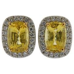 Oscar Heyman 15 Carat Yellow Sapphire Diamond Platinum Earrings