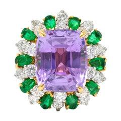 Oscar Heyman 15.05 Carats No Heat Ceylon Sapphire Emerald Diamond 18k Gold Ring