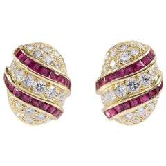 Oscar Heyman 18 Karat Gold Calibre Ruby and Round Diamond Clip Earrings