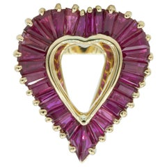 Oscar Heyman 18 Karat Gold Ruby Heart Shaped 'Ballerina' Style Ring