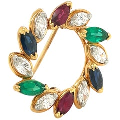 Oscar Heyman 18 Karat Gold Wreath Brooch with Marquis Diamonds and Gem Stones