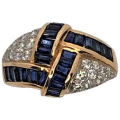 Oscar Heyman 18 Karat Platinum Sapphire Diamond Ring