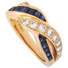 Oscar Heyman 18 Karat Rose Gold 0.40 Carat Diamond and 0.70 Carat Sapphire Ring