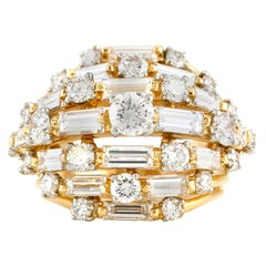 Oscar Heyman 18 Karat Gold with Round and Baguette Diamonds Ring