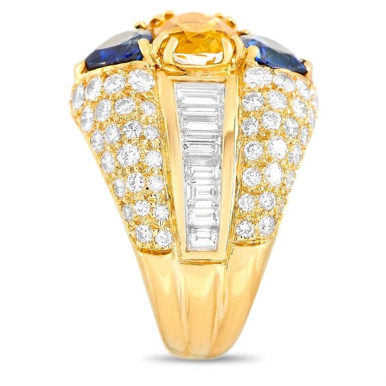 Round Cut Oscar Heyman 18 Karat Yellow Gold 2.50 Carat Diamond and Sapphire Ring