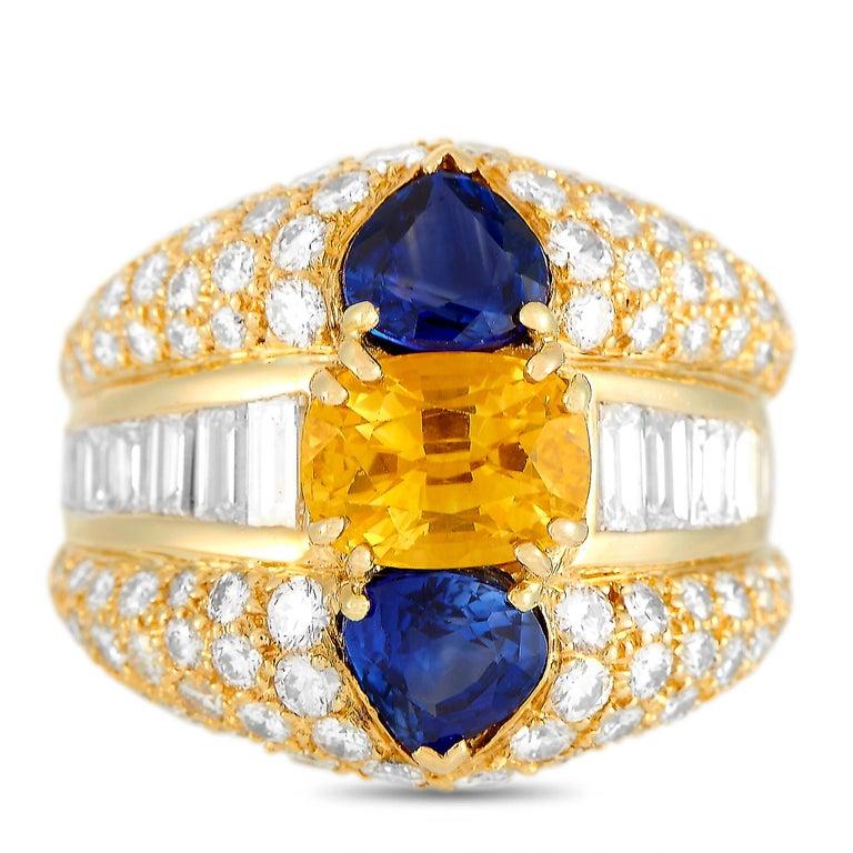 Women's Oscar Heyman 18 Karat Yellow Gold 2.50 Carat Diamond and Sapphire Ring