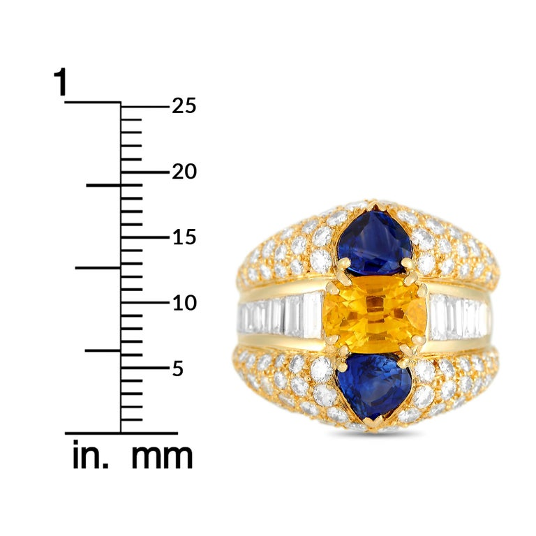 Oscar Heyman 18 Karat Yellow Gold 2.50 Carat Diamond and Sapphire Ring 1