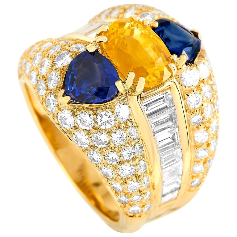 Oscar Heyman 18 Karat Yellow Gold 2.50 Carat Diamond and Sapphire Ring