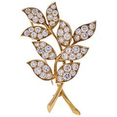 Oscar Heyman 18 Karat Yellow Gold 4.75 Carat Diamond Leaf Brooch