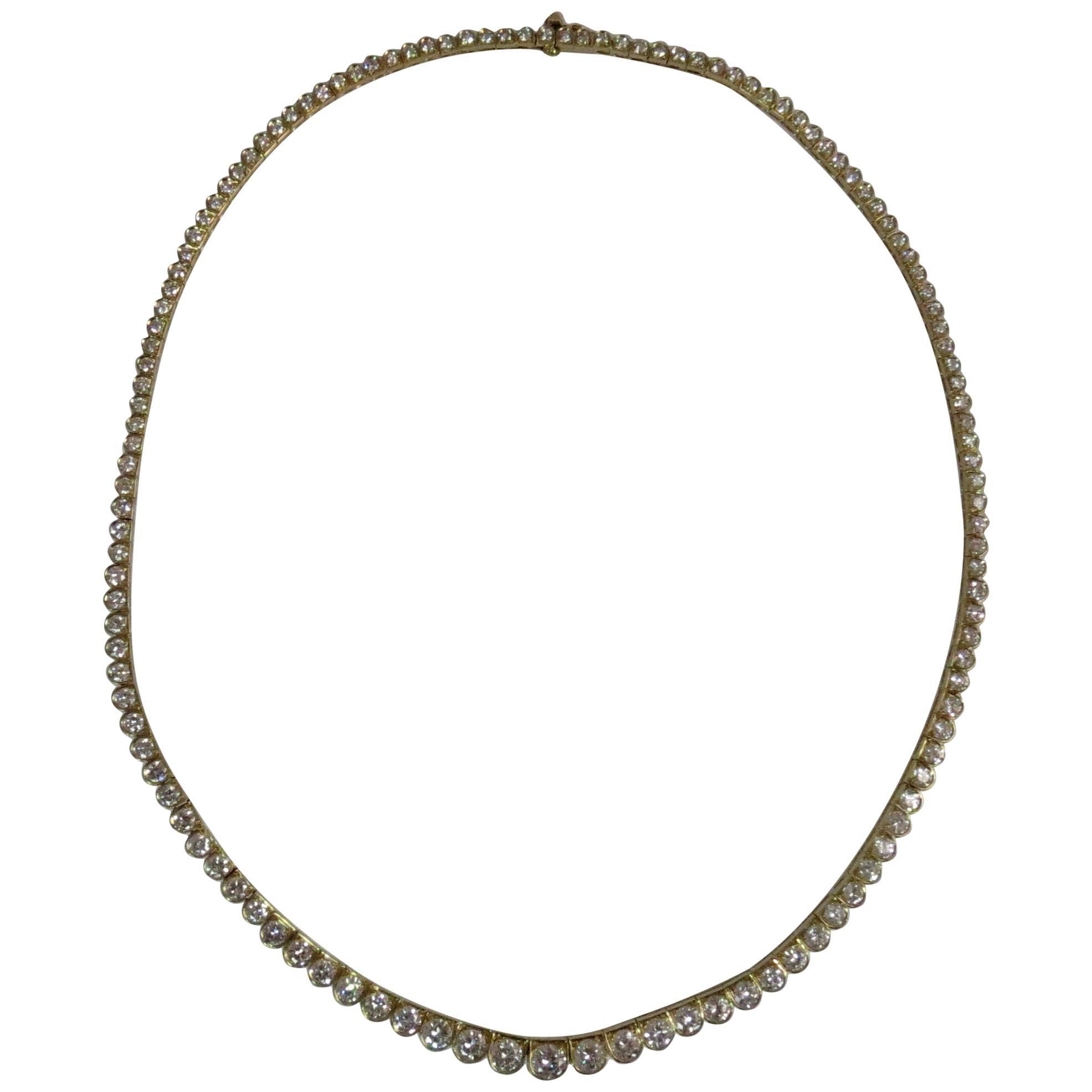 Oscar Heyman 18 Karat Yellow Gold Graduating Prong Set Diamond Necklace