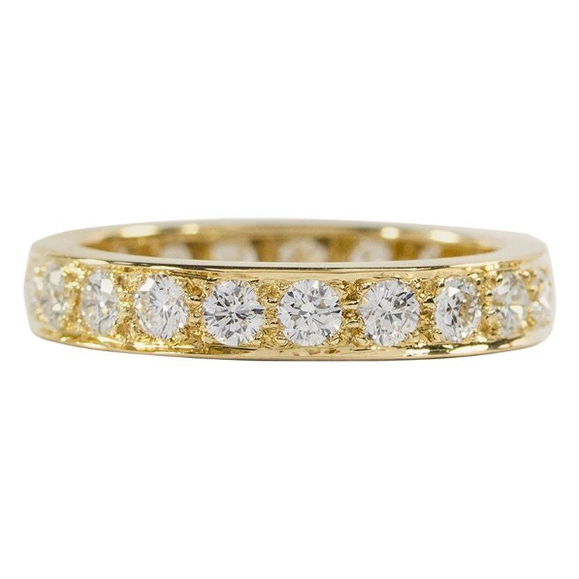 Oscar Heyman 18 Karat Yellow Gold Round Diamond Eternity Wedding Band Ring