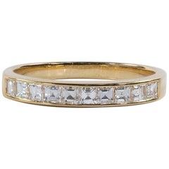 Oscar Heyman 18 Karat Yellow Gold Square Diamond Partway Wedding Band Ring