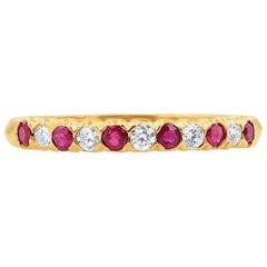 Oscar Heyman 18k Yellow Gold Round Ruby and Diamond Partway Wedding Band Ring