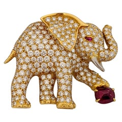 Oscar Heyman 18Kt Yellow Gold Diamond Ruby Elephant Brooch