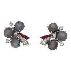 Oscar Heyman 1940s Star Sapphire Ruby Diamond Earrings