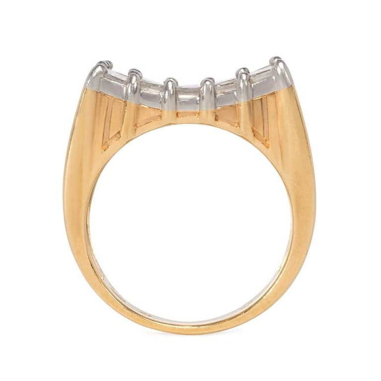 Emerald Cut Oscar Heyman 1960s Gold and Diamond Inverted Plaque Ring For Sale