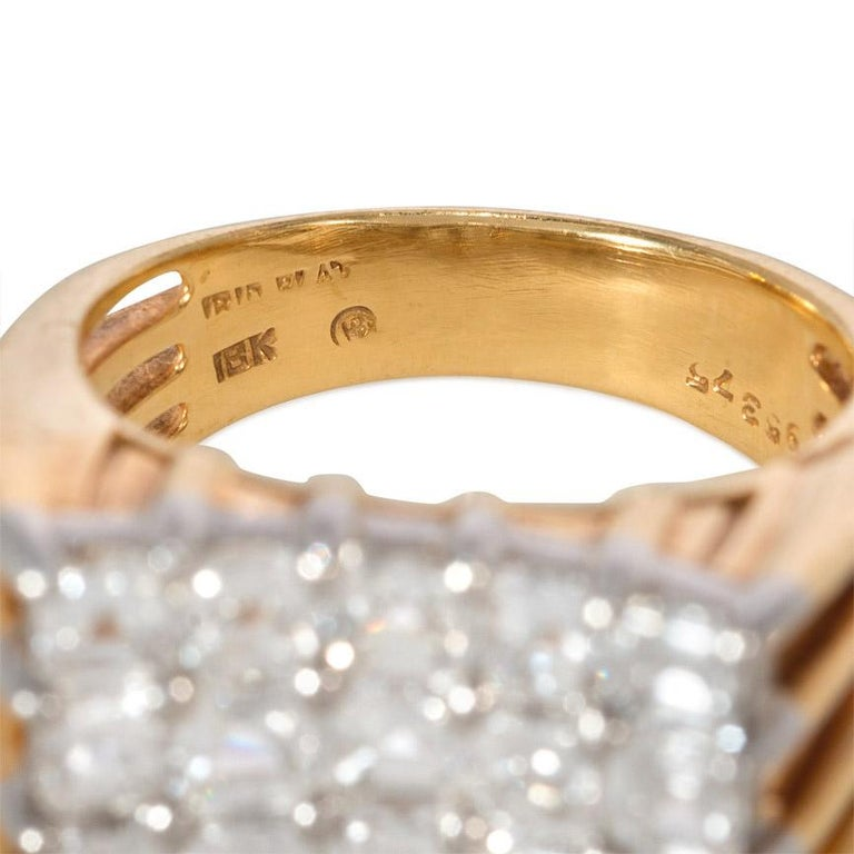Oscar Heyman 1960s Gold and Diamond Inverted Plaque Ring In Good Condition For Sale In New York, NY