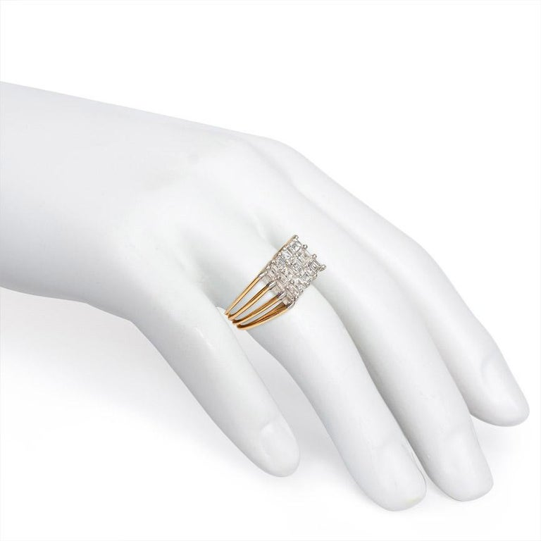 Women's or Men's Oscar Heyman 1960s Gold and Diamond Inverted Plaque Ring For Sale