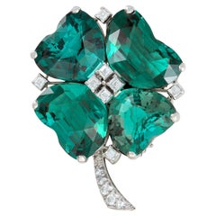Oscar Heyman 1970s Clover Tourmaline Diamond on Platinum Clip Brooch