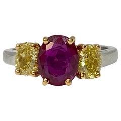 Oscar Heyman 2.07 Carat Burma No-Heat Ruby and Yellow Diamond Three-Stone Ring