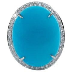 Oscar Heyman 21.47ct 'Sleeping Beauty' Turquoise and Pave Diamond Ring