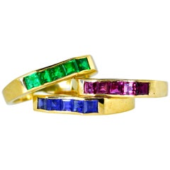 Oscar Heyman 3 Bands of Sapphires, Rubies and Emerald in 18 Karat Gold