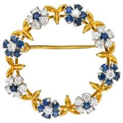 Oscar Heyman 3.60 Carat Sapphire Diamond Platinum 18 Karat Gold Floral Brooch