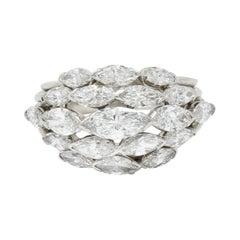 Oscar Heyman 4.00 Carats Marquise Diamond Platinum Cluster Band Ring