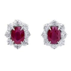 Oscar Heyman 4.09tcw Burma Ruby Entourage Earrings