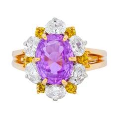 Oscar Heyman 5.36 Carat No Heat Pink Sapphire Fancy Diamond Platinum Gold Ring