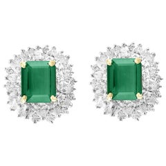 Oscar Heyman 5.78 Colombian Emerald Diamond Earrings Gold and Platinum Estate