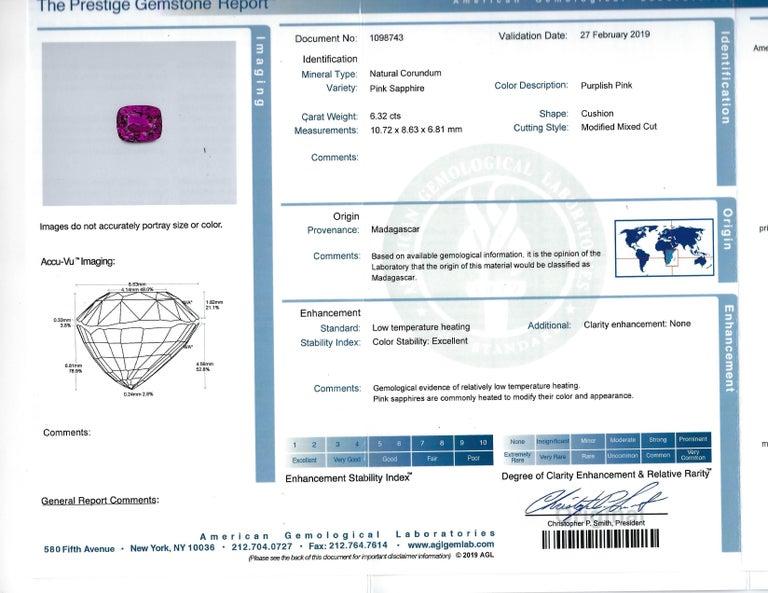 Oscar Heyman 6.32ct Cushion Pink Sapphire and Trapezoid Diamond Platinum Ring For Sale 4