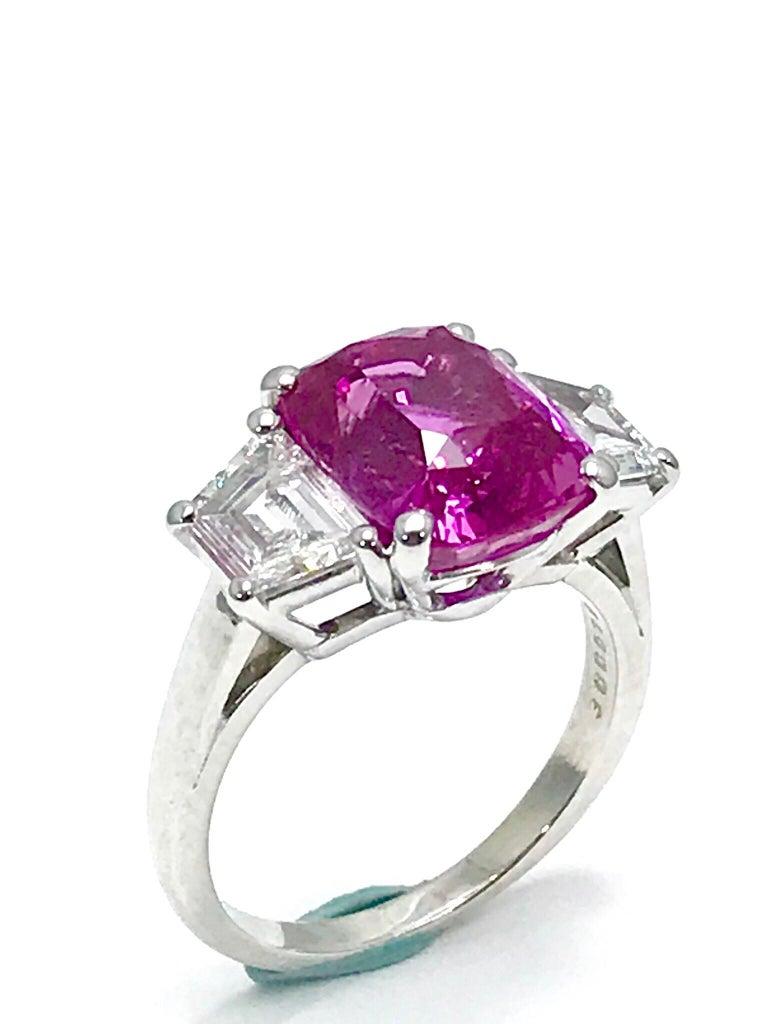 Modern Oscar Heyman 6.32ct Cushion Pink Sapphire and Trapezoid Diamond Platinum Ring For Sale