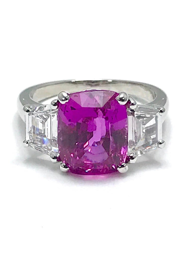 Cushion Cut Oscar Heyman 6.32ct Cushion Pink Sapphire and Trapezoid Diamond Platinum Ring For Sale