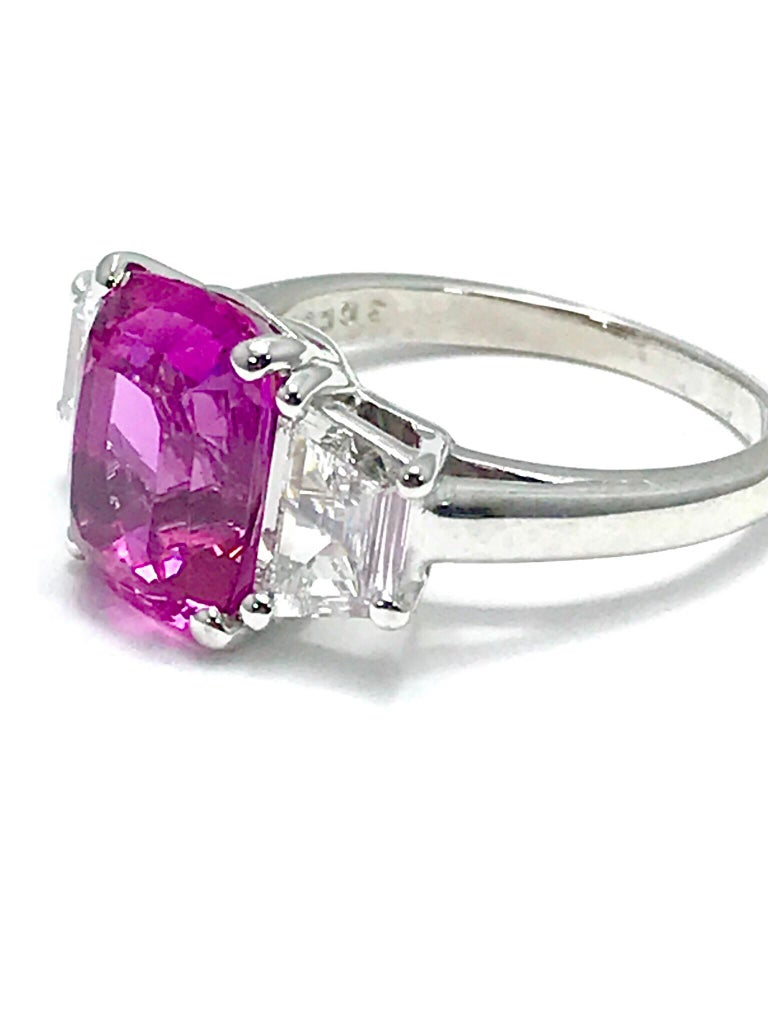 Women's or Men's Oscar Heyman 6.32ct Cushion Pink Sapphire and Trapezoid Diamond Platinum Ring For Sale