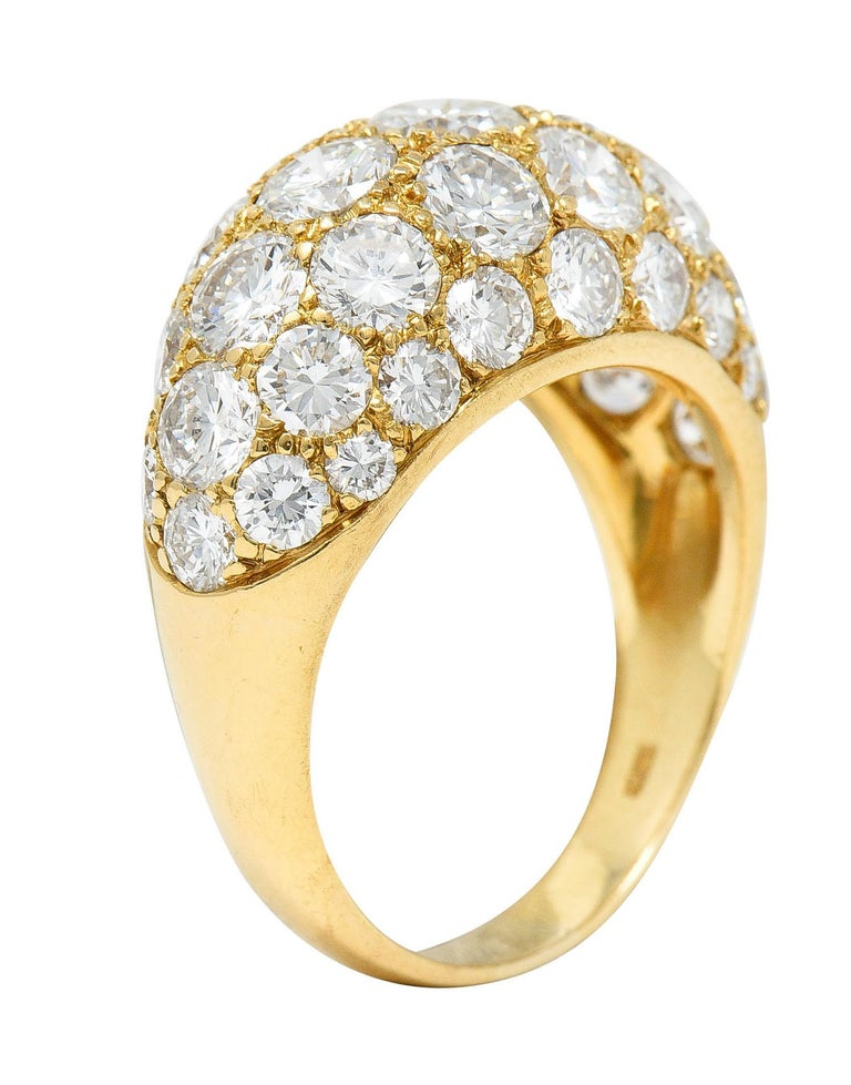 Oscar Heyman 7.50 Carats Pave Diamond 18 Karat Gold Bombe Band Ring For Sale 4