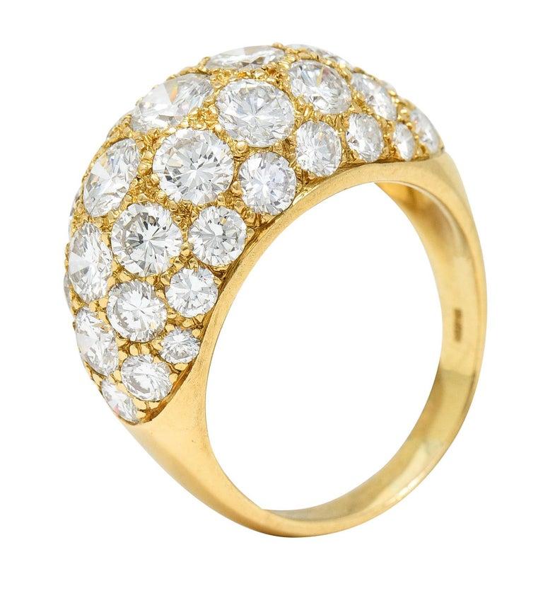 Oscar Heyman 7.50 Carats Pave Diamond 18 Karat Gold Bombe Band Ring For Sale 5