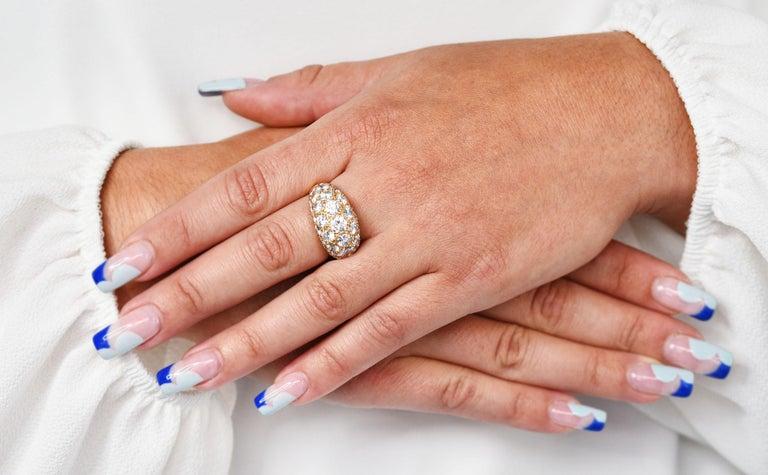 Oscar Heyman 7.50 Carats Pave Diamond 18 Karat Gold Bombe Band Ring For Sale 7