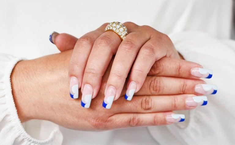 Oscar Heyman 7.50 Carats Pave Diamond 18 Karat Gold Bombe Band Ring For Sale 8