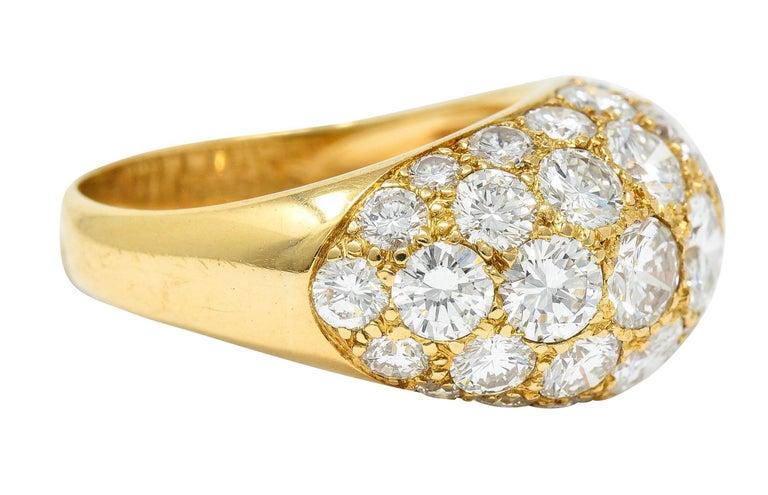 Contemporary Oscar Heyman 7.50 Carats Pave Diamond 18 Karat Gold Bombe Band Ring For Sale