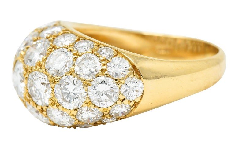 Oscar Heyman 7.50 Carats Pave Diamond 18 Karat Gold Bombe Band Ring In Excellent Condition For Sale In Philadelphia, PA