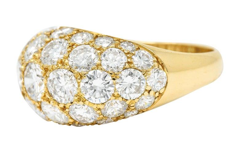 Women's or Men's Oscar Heyman 7.50 Carats Pave Diamond 18 Karat Gold Bombe Band Ring For Sale