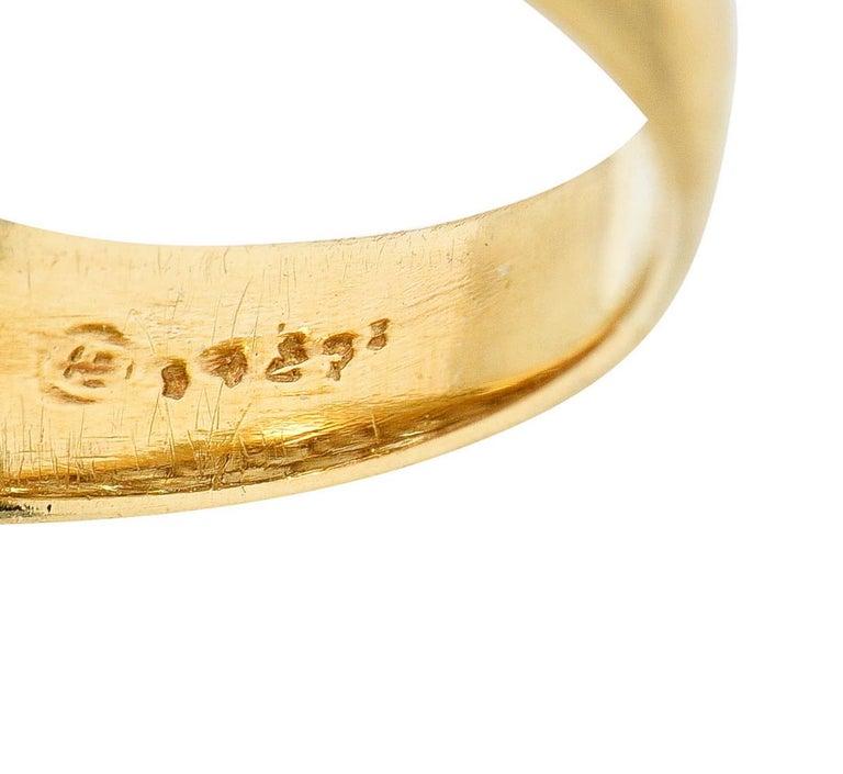 Oscar Heyman 7.50 Carats Pave Diamond 18 Karat Gold Bombe Band Ring For Sale 1