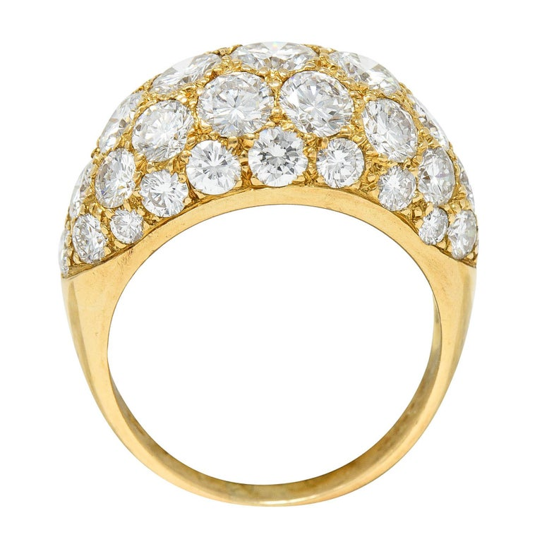Oscar Heyman 7.50 Carats Pave Diamond 18 Karat Gold Bombe Band Ring For Sale 3